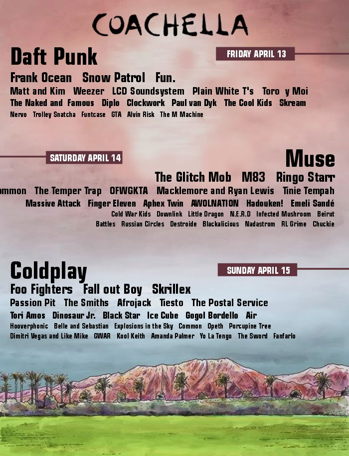 Re: 2014 Lineup ( too early i know)
